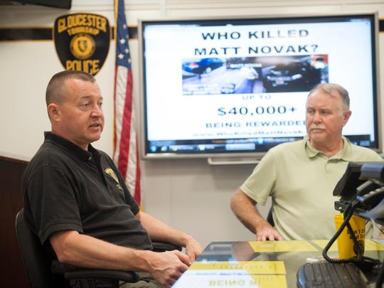 Gloucester Township Police Detective Chuck Dougherty (left) and his uncle Matt Novak Sr. talk about the unsolved murder of Novak's son, Matt Novak Jr.  Friday, September 26, 2014.