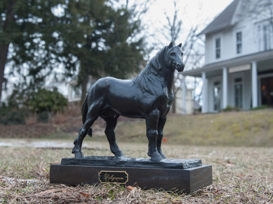 A bronze model of the Percheron horse is seen on the vacant land that will become Percheron Park in Moorestown. The Percheron Horse was breed imported by a Moorestown resident in the 1800s and which became the standard workng horse in American farming. Friday, February 6, 2015.