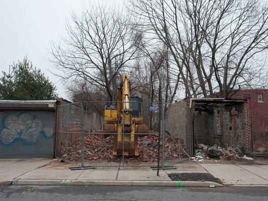 1510 Louis Street in Camden, the rubble pile remains and no work is being done.