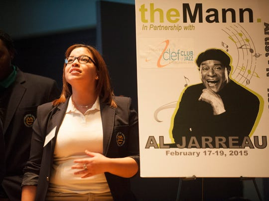 Camden students from Creative Arts Morgan Village Academy including senior Desiree Colon rehearse with seven-time Grammy Award-winning jazz vocalist Al Jarreauat at the Philadelphia Clef Club in preparation for their upcoming concert. Wednesday, February 17, 2015.