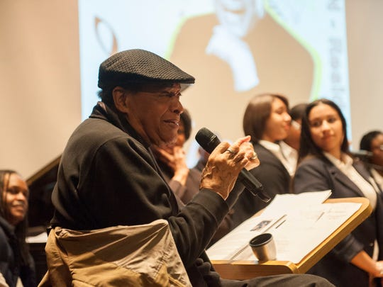 Seven-time Grammy Award-winning jazz vocalist Al Jarreau instructs Camden students from Creative Arts Morgan Village Academy at the Philadelphia Clef Club in preparation for their upcoming concert. Wednesday, February 17, 2015.