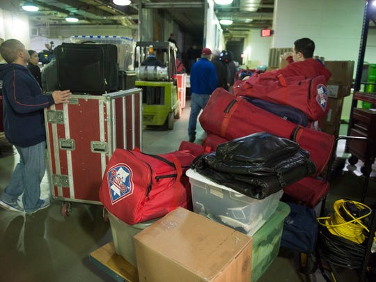 Workers load up the Phillies 53-foot equipment truck that will be headed for Spring Training in Clearwater, Florida. Friday, February 13, 2015.