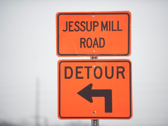 A detour sign for Jessup Mill Road bridge in Mantua Twp. which remains closed with ongoing construction. Wednesday, March 4, 2015.