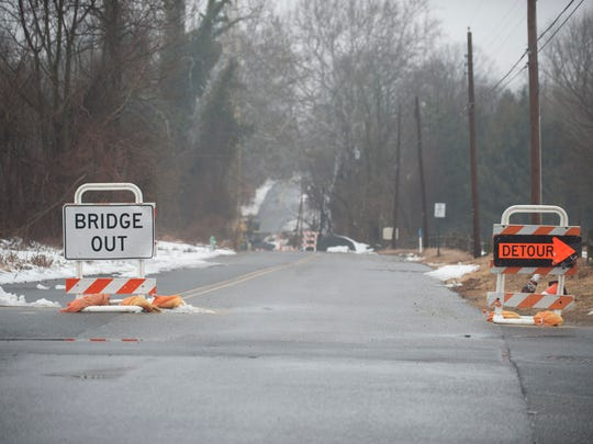 Jessup Mill Road bridge in Mantua Twp. remains closed with ongoing construction. Wednesday, March 4, 2015.