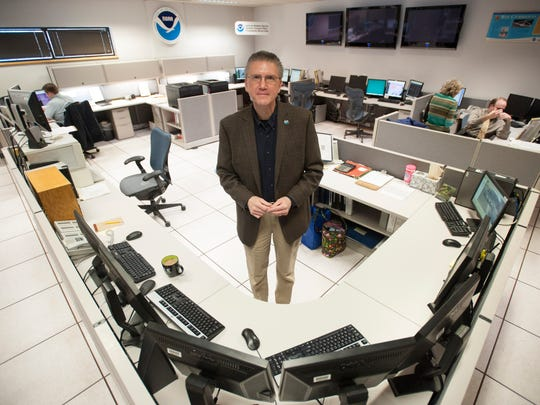 Chief Meterologist Gary Szatkowski stands in the operations room at the National Weather Service in Mount Holly.