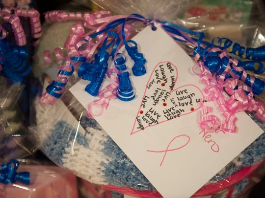 Hearts United Against Cancer sends gift baskets like this to hospitals throughout the area.