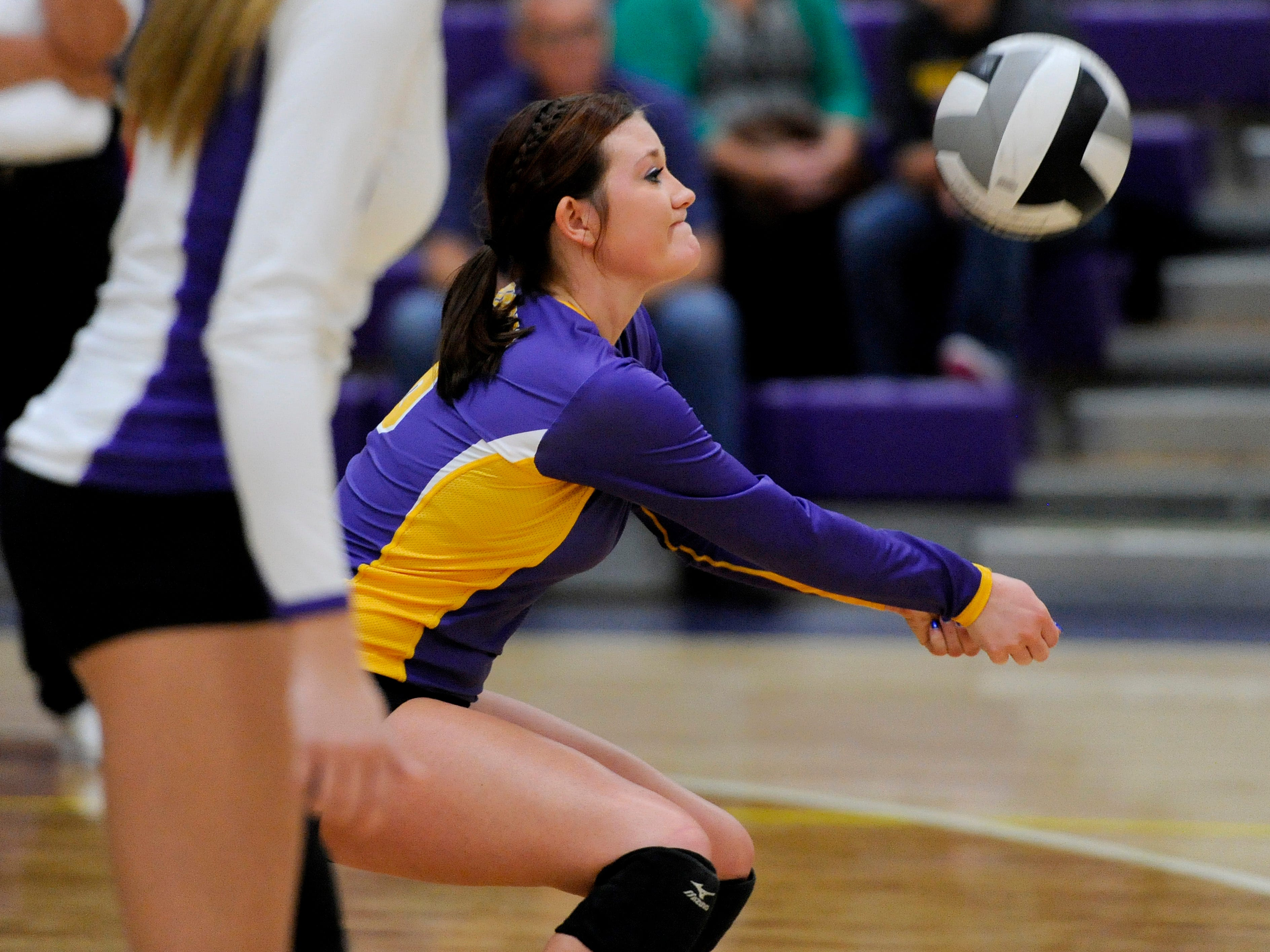 Unioto's Emily Ward bumps the ball during Thursday's nonleague match against Logan Elm.