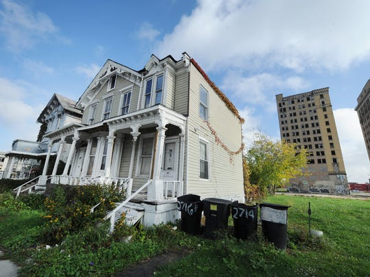 The only residential holdout is this home at 2712 Cass Avenue, which has been subdivided into several rental apartments.