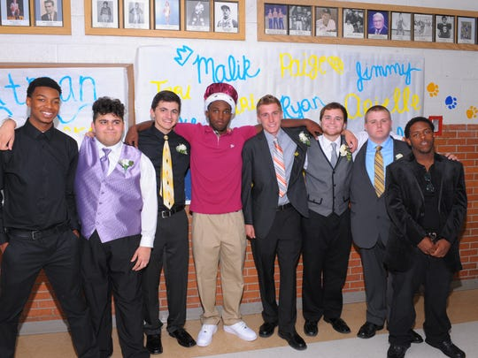 The young men who made up the Redford Union Homecoming Court are Carlos Welch, Michael Mchahwar, Luke Hebner, Malik Hadley, Jimmy Smith, Ryan Ruffner, Collin Krupp and John Nesbitt.