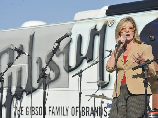 "Rep. Marsha Blackburn speaks at a ""We Stand with Gibson"" rally in October 2011."