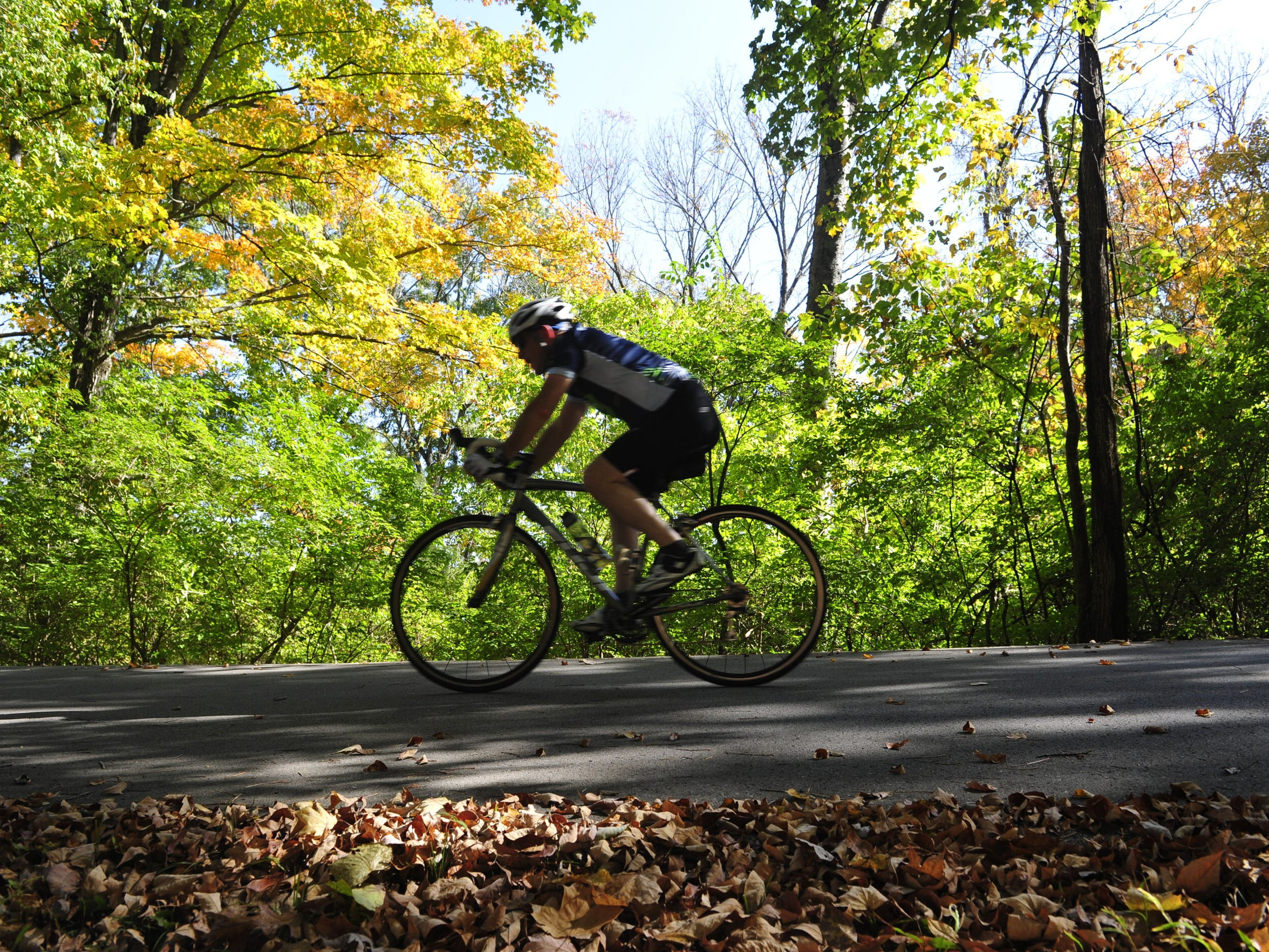 A bicyclist rides through Percy Warner Park. Brentwood's Bike and Pedestrian Ad Hoc Committee presented its report to the city in August on how to make the city more bike and pedestrian friendly. The city will discuss its 2020 and Major Thoroughfare plans next week.