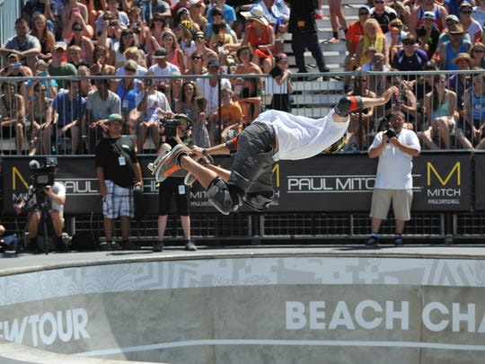 In this file photo, Bucky Lasek takes home 1st place in the finals of DEW Tour bowl. Organizers of the Jellyfish Festival hope to bring  a similar event to the Dew Tour to Ocean City.