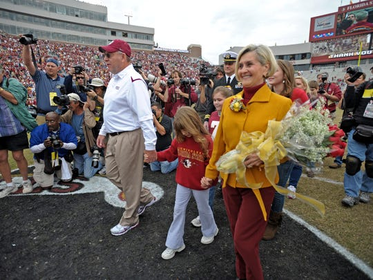 Mickey Andrews and wife Diane were honored before Andrews' final Florida State home game in 2009.