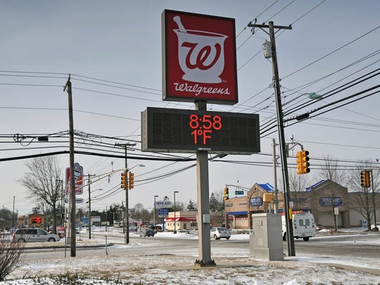 The Walgreens at Oak and Main Roads in Vineland displayed temperatures at 1 degrees during early morning hours on Monday.