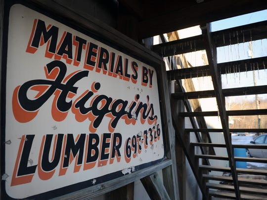 An old sign at Higgins Lumber Company in Roseville.