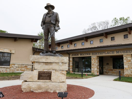 A sculpture of John Wayne, donated to the museum on