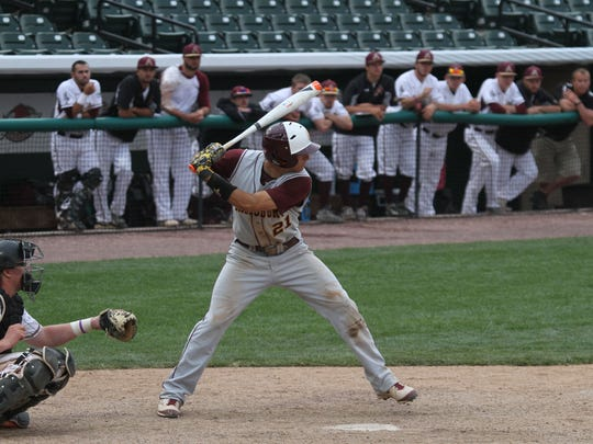 Salisbury University shortstop Pete Grasso waits on a pitch at the plate. Grasso was named Most Outstanding Player of the regional.