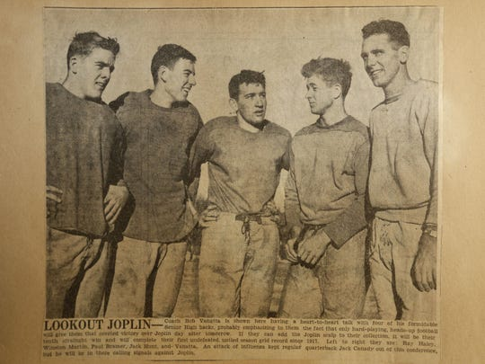 A newspaper clipping from the News and Leader in 1945 of the Springfield Senior High (now Central) football team.