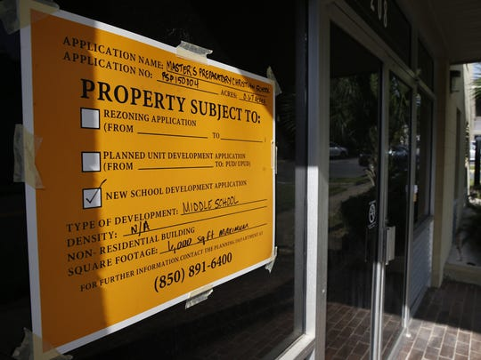 A city inspection sign is plastered on the window of the pending home of Masters Preparatory Christian School as the school is trying to relocate from Havana, Fla. to Tallahassee.