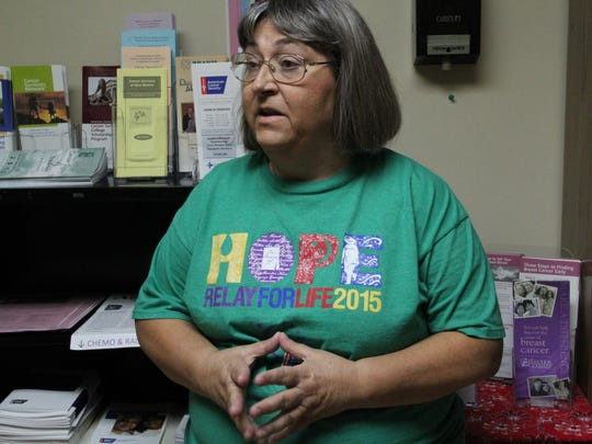 Sue Baker, co-founder of Relay for Life of Alamogordo gives a tour of the Cancer Resource Center on Wednesday afternoon.