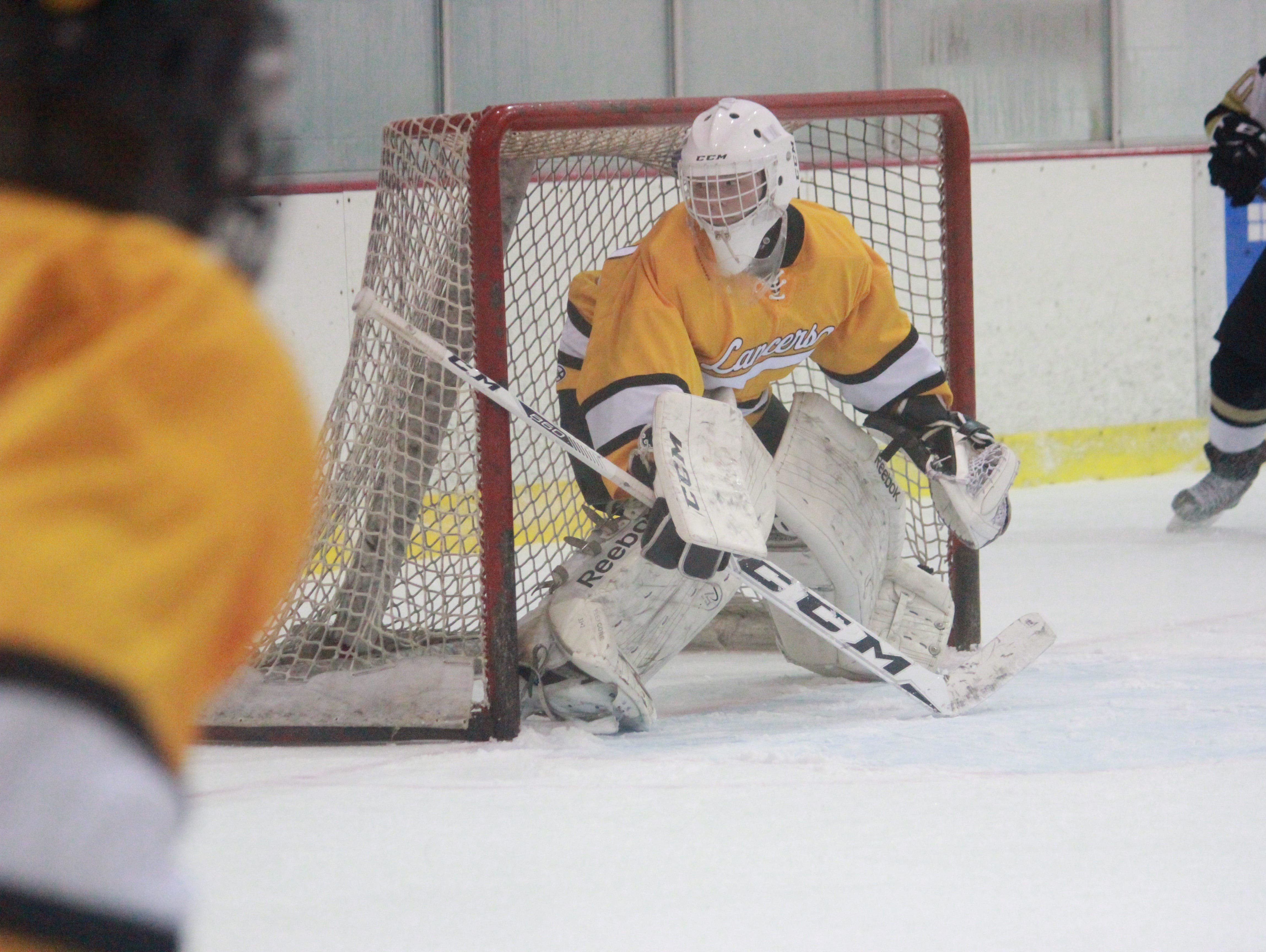 St. John Vianney goalie Jeremy Connor made 41 saves in a 3-2 win over Point Boro on Friday at the Ocean Ice Palace.