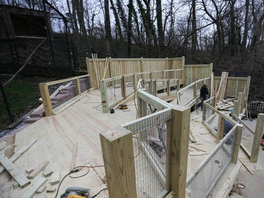 Crews work on the new Eagle Ridge exhibit space at Brandywine Zoo in Wilmington on Jan. 12.