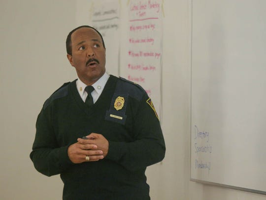IFD Chief Ernest Malone unveiled a consolidation plan at the Broad Ripple Village Association meeting March 1, 2016.