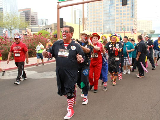 Terry Ricketts and other members of the APS Clown Troupe participated in the Race Against Cancer earlier this month.