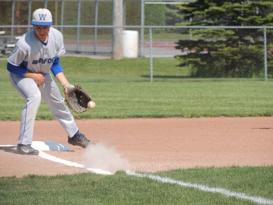 Wynford senior Alex Crall scoops a ball during Monday's