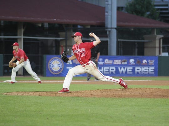 UL's Gunner Leger pitches against Arkansas State on Wednesday in the first round of the Sun Belt tournament in San Marcos, Texas.