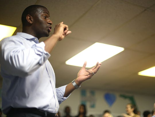 Mayor Andrew Gillum speaks during the opening of a
