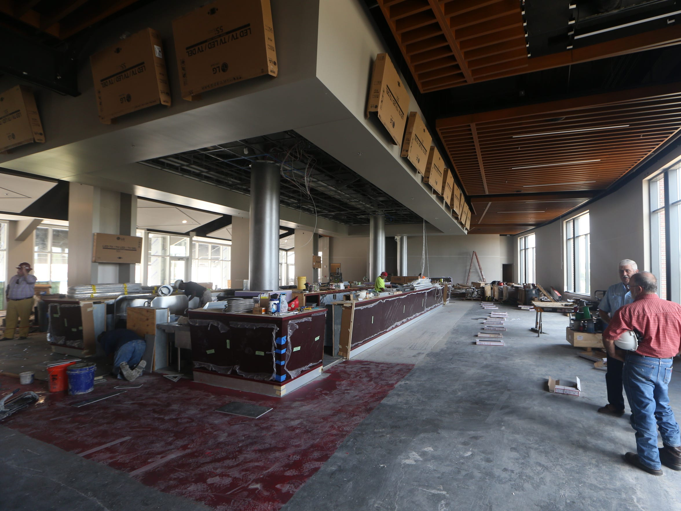 A view of a bar area on the fourth floor of the new Champions Club in the south end zone of Doak Campbell Stadium.