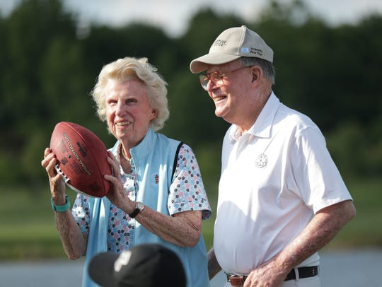 Pete and Alice Dye during the Pete and Alice Dye Championship in 2016, a three-hole golf tournament benefiting Autism Speaks and The First Tee of Indiana, at the Indiana Farm Bureau Football Center.
