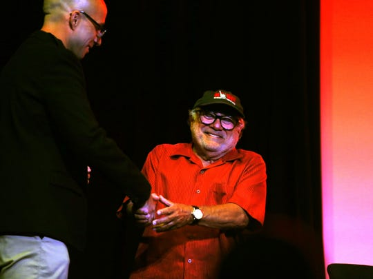 Asbry Park Press features reporter Alex Biese (left) and Danny DeVito on stage at the House of Independents in Asbury Park on Sept. 4, 2016.