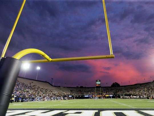 The sky over Vanderbilt Stadium on Sept. 10, 2016.