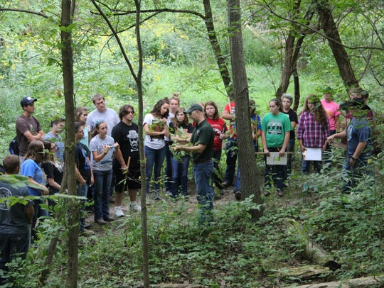 Students learning about tree identification and general