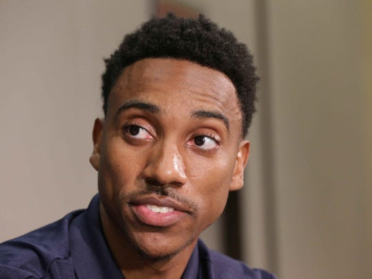 New Indiana Pacers Point Guard Jeff Teague answers questions during a press conference, Monday July 11th, 2016.