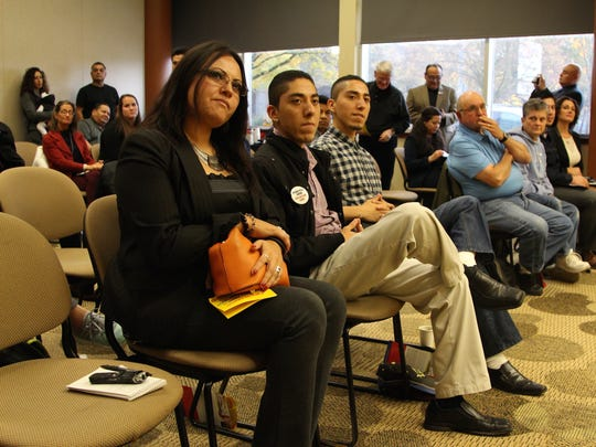 Members of the community listen to candidates speak at the Political Forum on Latino Issues hosted by the Latino Business Alliance on Wednesday, Oct. 26 at the Chemeketa Center for Business & Industry.