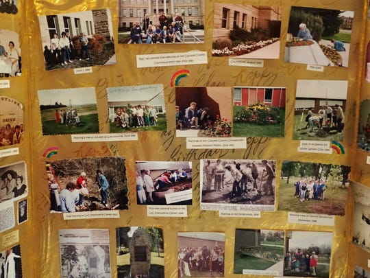 The ladies created a memory board with just a few of their many projects over the past 60 years.