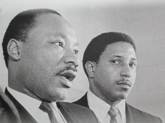 Bernard Lafayette, right, stands with the Rev. Martin Luther King Jr. in 1968 —the year King was assassinated.