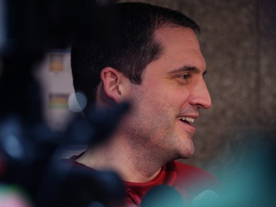 Iowa State head coach Steve Prohm talks to the media before practice on Friday, March 17, 2017, at the BMO Harris Bradley Center in Milwaukee ahead of the Cyclones NCAA tournament second round game against Purdue on Saturday.