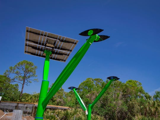 Three solar trees are installed as part of the Lands