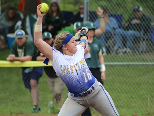 Maine-Endwell's Emily Hess pitches in the Section 4 Class A title game against Vestal at BAGSAI.