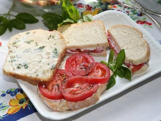 The humble tomato sandwich, here with basil mayonnaise,