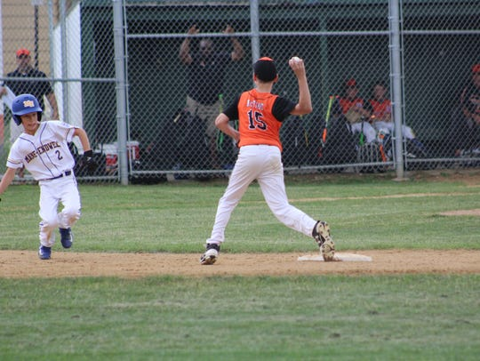 Union-Endicott shortstop Jacob McTigue turns a double