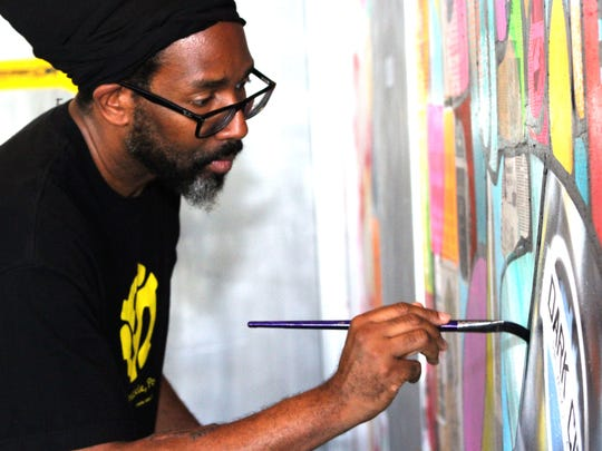 Kortez incorporates his own photography, painting,
