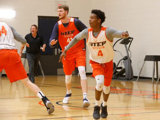 The UTEP basketball team held their sixth day of practice as the team and coaches prepare for the team's trip to Costa Rica Aug. 15-20 to participate in a preseason tournament. Here guard Omega Harris runs to cover a potential pass as center Matt Wilms waits for the ball deep in the paint.