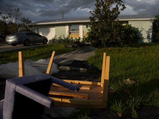 Alex Goetten, 35, was working overtime while sheltering at NCH Baker Hospital Downtown during Hurricane Irma. When she returned home she had a house with no roof and immense water damage. The damage can be seen here Friday, Sept. 22, 2017, in East Naples, Fla.