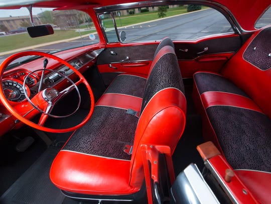 The interior of Grace Braeger's 1957 Chevrolet Bel