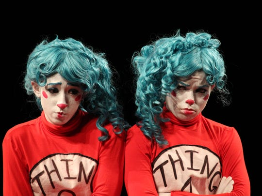 "Alexandra Thomas and Rave Saine are Thing 1 and Thing 2 in FSU's ""The Cat in the Hat."" Even we're not sure which is which."